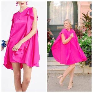 New York Designer Bright Pink Silk Dress